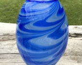 Hand Blown Glass Vase Blue