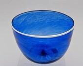 Handblown Blue Glass Bowl with White Lip Wrap