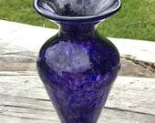 Hand Blown Vase Blue Purp...