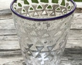 Hand Blown Glass Cup Purple Rim
