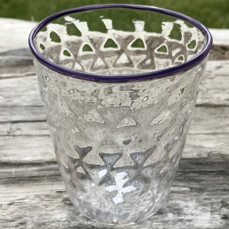 Hand Blown Glass Cup Purple Rim image 0