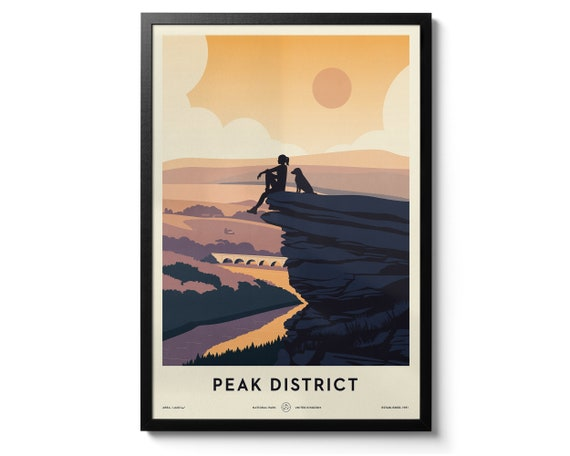 The Peak District Uk National Park Print Travel Poster Art Etsy