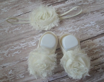 Barefoot Sandals - Ivory, Cream - Matching Set with Headband and Rhinestones Optional