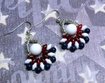 Patriotic Fan Earrings, Fourth of July Earrings, July 4th Earrings, Red, White and Blue Earrings, Patriotic Jewelry, 4th of July Jewelry