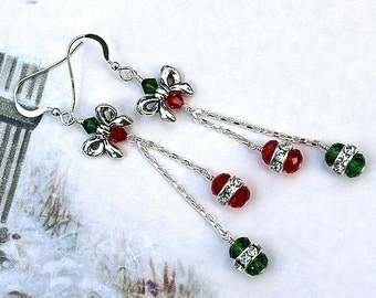 Christmas Dangle Earrings, Swarovski Earrings, Christmas Earrings, Holiday Earrings, Red and Green Earrings, Christmas Jewelry, Holiday