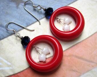 Red Hoop Earrings, Fourth of July Earrings, July 4th Earrings, Patriotic Earrings, Vintage Earrings, Lucite Earrings, Swarovski Earrings