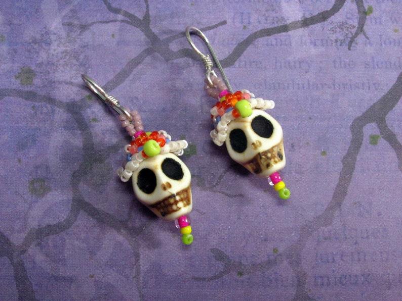 Sugar Skull Mexican Earrings Dia de muertos earrings Mexican Calaveras Earrings