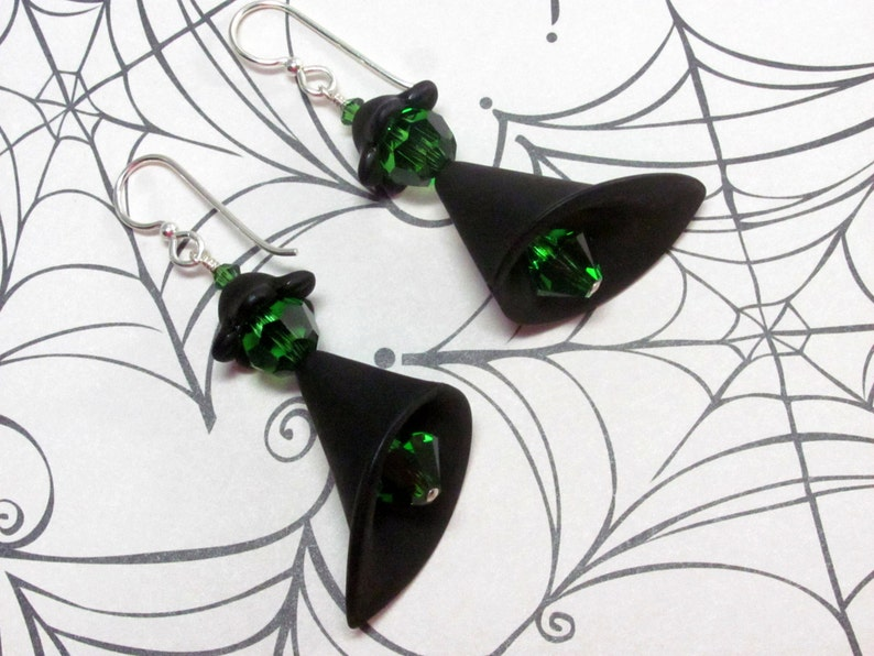 Halloween Earrings Dangle Lucite Earrings Halloween Witch Earrings Witch Earrings Holiday Earrings Green Earrings Black Earrings
