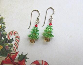 Christmas Tree Earrings, Holiday Earrings, Christmas Earrings, Swarovski Earrings, Christmas Jewelry, Dangle Earrings, Green Earrings