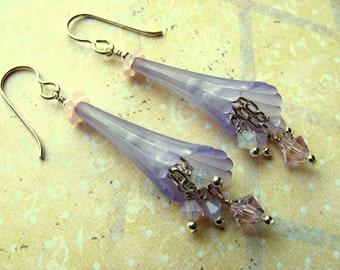 Blue Lucite Flower Earrings, Lucite Flower Earrings, Swarovski Earrings, Blue Earrings, Flower Earrings, Dangle Earrings, Summer Earrings