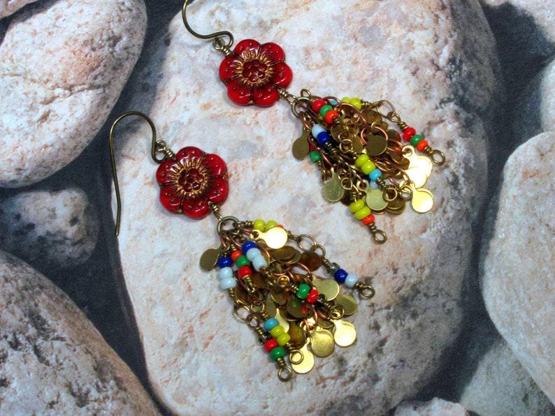 Red Wild Rose Flower Earrings Seed Bead Chain Earrings Boho Earrings Statement Earrings Hippie Earrings Flower Earrings Boho Jewelry