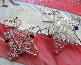 Wire Star Earrings, Patriotic Earrings, Fourth of July Earrings, July 4th Earrings, Swarovski Earrings, Star Earrings, Red Earrings