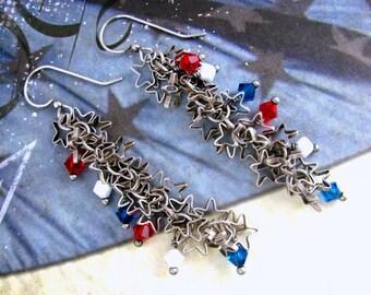 Star Chain Earrings, Swarovski Earrings, Fourth of July Earrings, Patriotic Earrings, July 4th Earrings, Red Earrings, Patriotic Jewelry