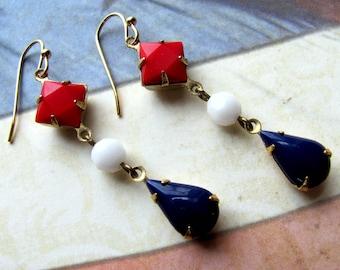 Red White and Blue Earrings, Vintage Earrings, Patriotic Earrings, Fourth of July Earrings, July 4th Earrings, Holiday Earrings