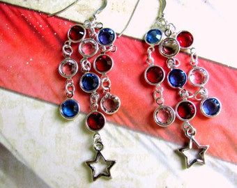 Fourth of July Earrings, Red, White, Blue Earrings, Patriotic Jewelry, Patriotic Earrings, Independence Day, Star Earrings, Holiday Earrings