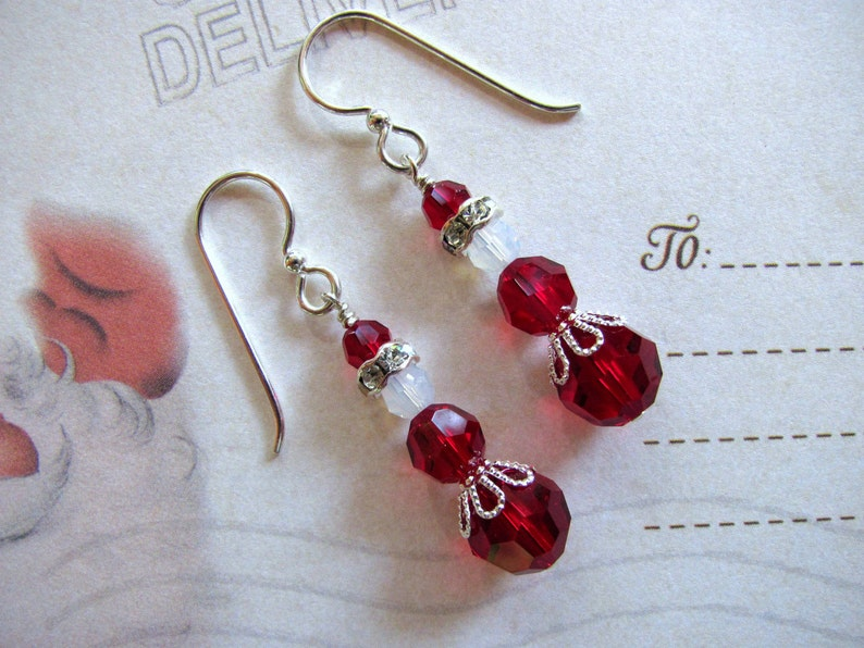 1ca08e8befb64 Mrs. Santa Claus Earrings, Holiday Earrings, Swarovski Earrings, Christmas  Earrings, Red Earrings, Dangle Earrings, Mrs.Claus Earrings