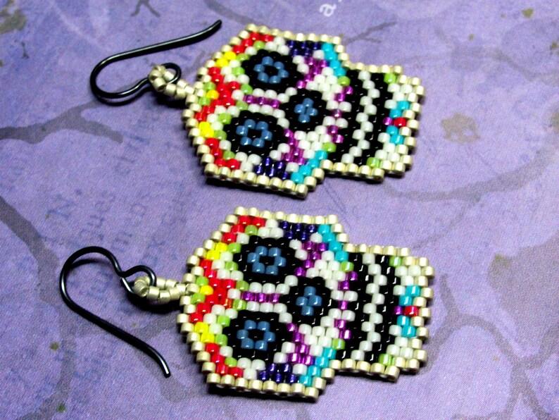 Beaded Halloween Earrings Holidays Seed Bead Halloween Earrings Day of the Dead Sugar Skull Seed Bead Earrings Dia De Los Muertos