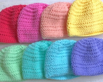 Set of 8 Spring Baby Hats 0-3 Months
