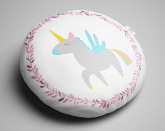 Round Unicorn Cushion