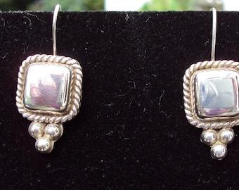 Vintage Sterling Silver Square Earrings