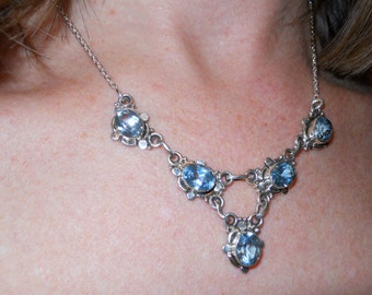 Sterling Silver with Blue Topaz drop Necklace