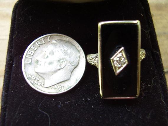 Antique Victorian 14K White Gold Conclave Black O… - image 8