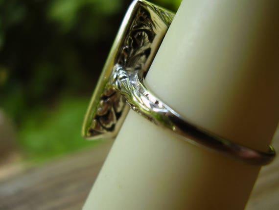 Antique Victorian 14K White Gold Conclave Black O… - image 4