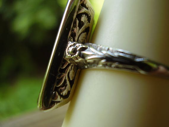 Antique Victorian 14K White Gold Conclave Black O… - image 3