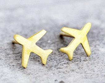 Sterling Silver World Traveller Red Enamel Car Plane Studs Earrings Holiday
