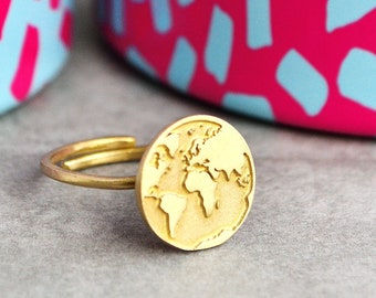 World Map Ring /Travel Ring/Travel Gift/Graduation Gift/Traveler Gift/Best Friend Gift/Fun Rings/Travel Jewelry/Inspirational Gift/Finger Ri