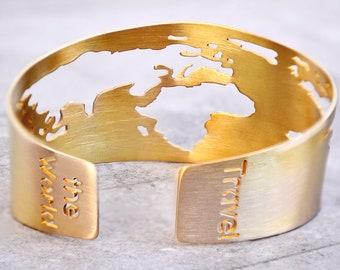 World Map Bracelet /Travel Bracelet / Globe Bracelet /Traveler Gift / World Map Cuff/World Bracelet/Travel Jewelry/Travel Lover/Travel Gift