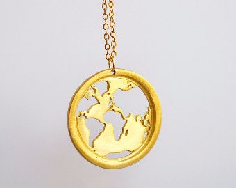 World Map Necklace / Travel Gift / Traveler Gift/Inspirational Gift/World Necklace/Travel Jewelry/Traveller Gift/Map Necklace/Gift for Women
