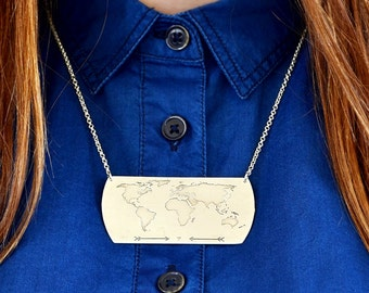 World Map Necklace / Globe Necklace / Gift for Women / Map Necklace / World Necklace/ Personalized Pendant / Dainty Necklace /Travelers Gift
