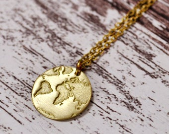 World Map Necklace / Travel Necklace / Globe Necklace / Traveller Gift / Mothers Day Gift/Gifts for Women/Daily Inspiration/ Dainty Necklace