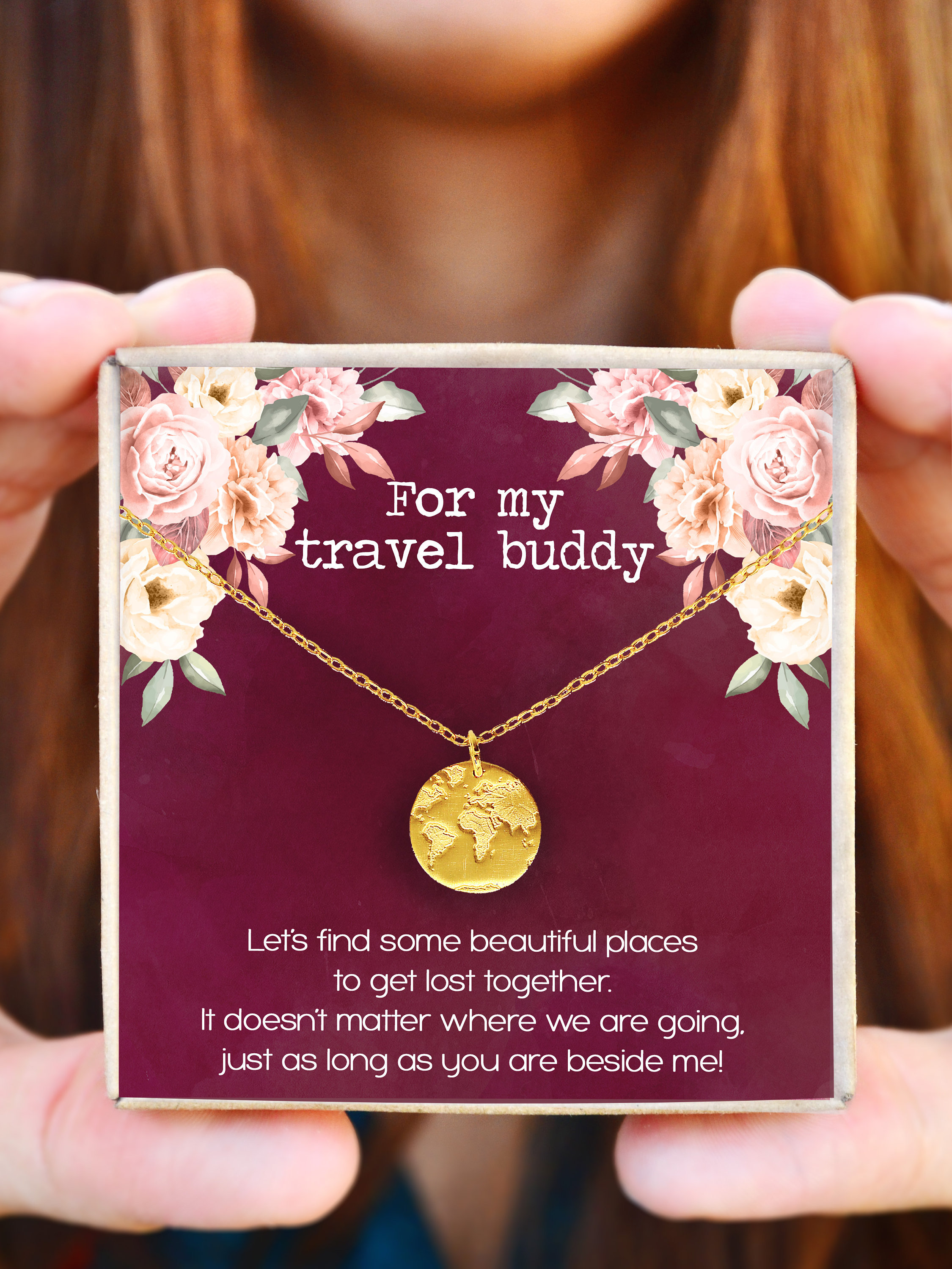 Wanderlust Jewelry Adventure Engraved Silver Bar Chain Necklace 24K Gold Travel Lover Gift Travel Jewelry 18K Rose Gold Gift For Her