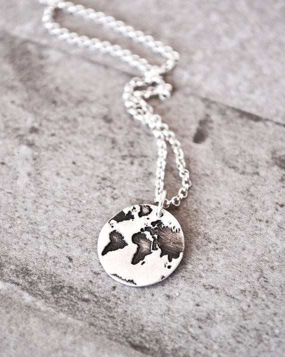 Globe Necklace in Sterling Silver Graduation Gift Travel Map
