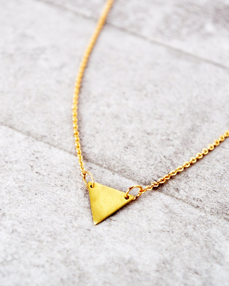 Triangle Necklace  Tiny Triangle Gifts for WomenDainty NecklaceMinimalist NecklacePersonalized JewelryName Necklace Monogram Necklace