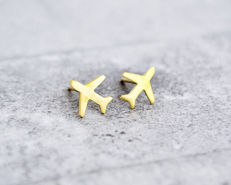 Airplane Studs / Airplane Earrings / Travel Gift / Aviation image 0
