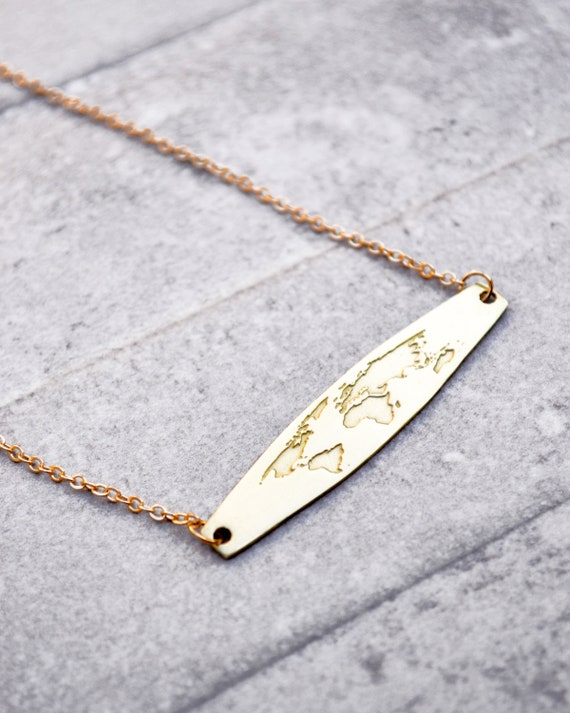 Globe necklace world map necklace gift for women map etsy image 0 gumiabroncs Choice Image