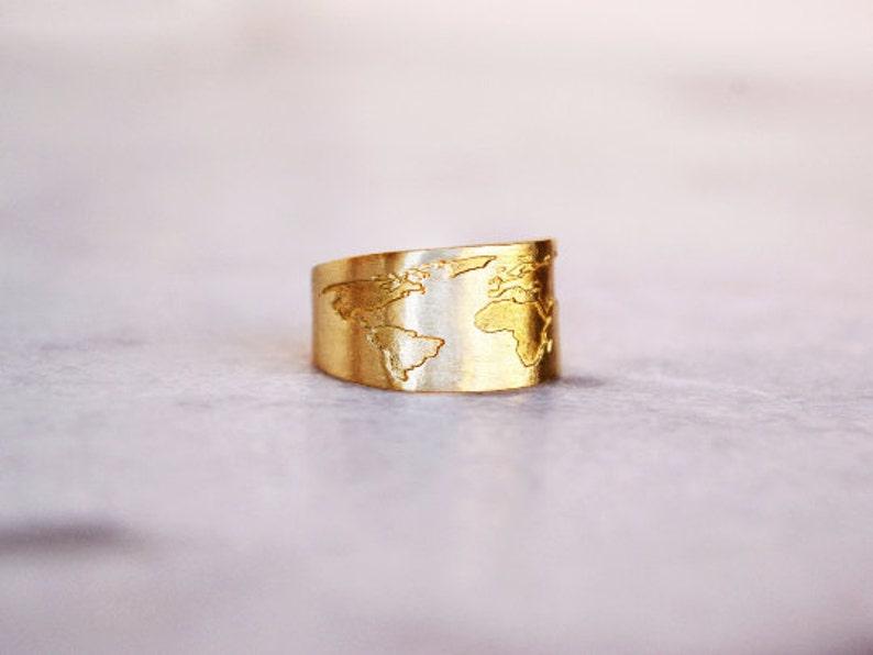 World Map Ring / Globe Ring / Travel Ring / Travel Gift / Gift image 0