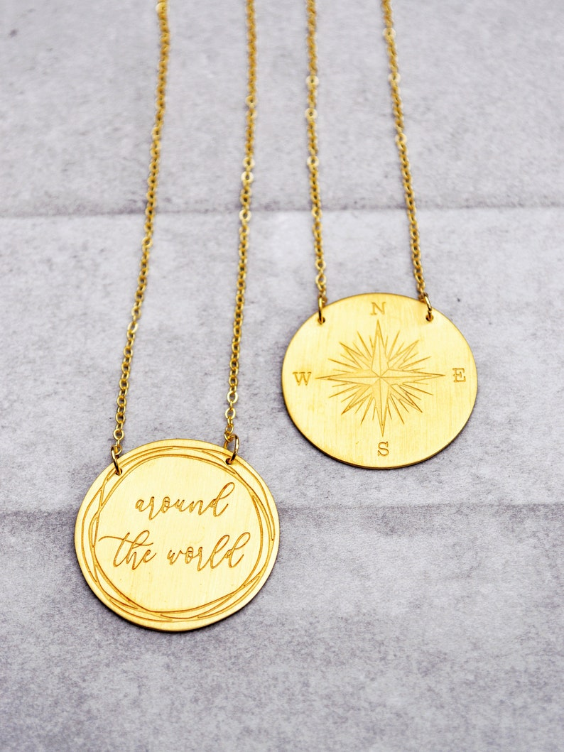 Around the world  Compass Charm  Compass Rose Personalized JewelryQuote NecklaceCompass Necklace Compass PendantCompass Jewelry
