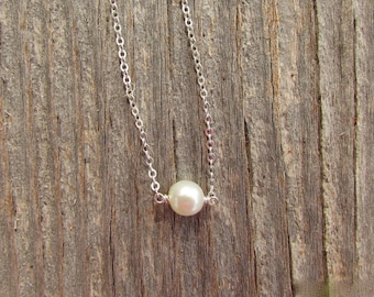 Sterling Silver Single Pearl Necklace