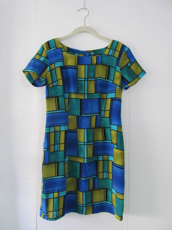Mondrian Inspired Short Sleeve Dress S 36 Bust 29