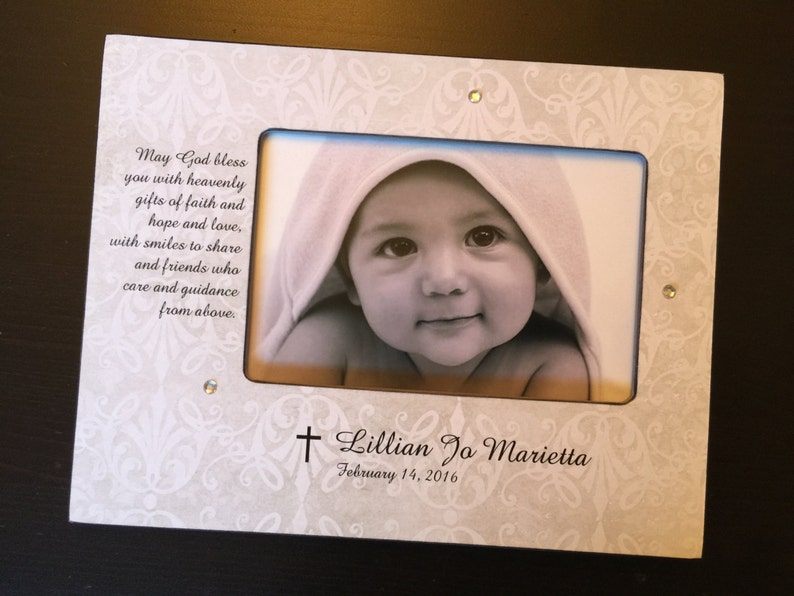 Christening Day Photo Frame with Diamonties Pewter