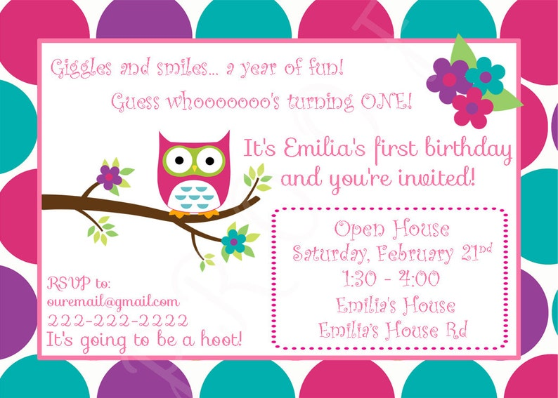 Owl First Birthday Invitation Design You