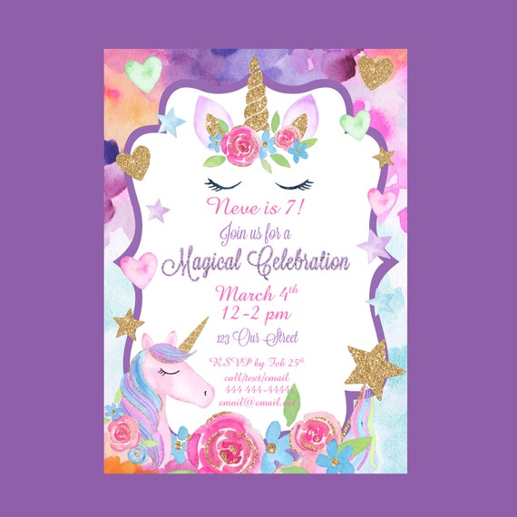 Unicorn Party Birthday Invitation Unicorn Birthday - Magical Party - Rainbow Party - You Print 5x7 Digital Invitation Birthday Invite