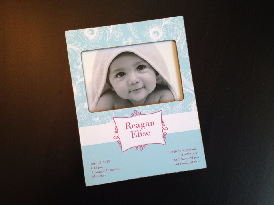 Personalized Baby Birth Stats Frame 4x6 Keepsake Picture Etsy