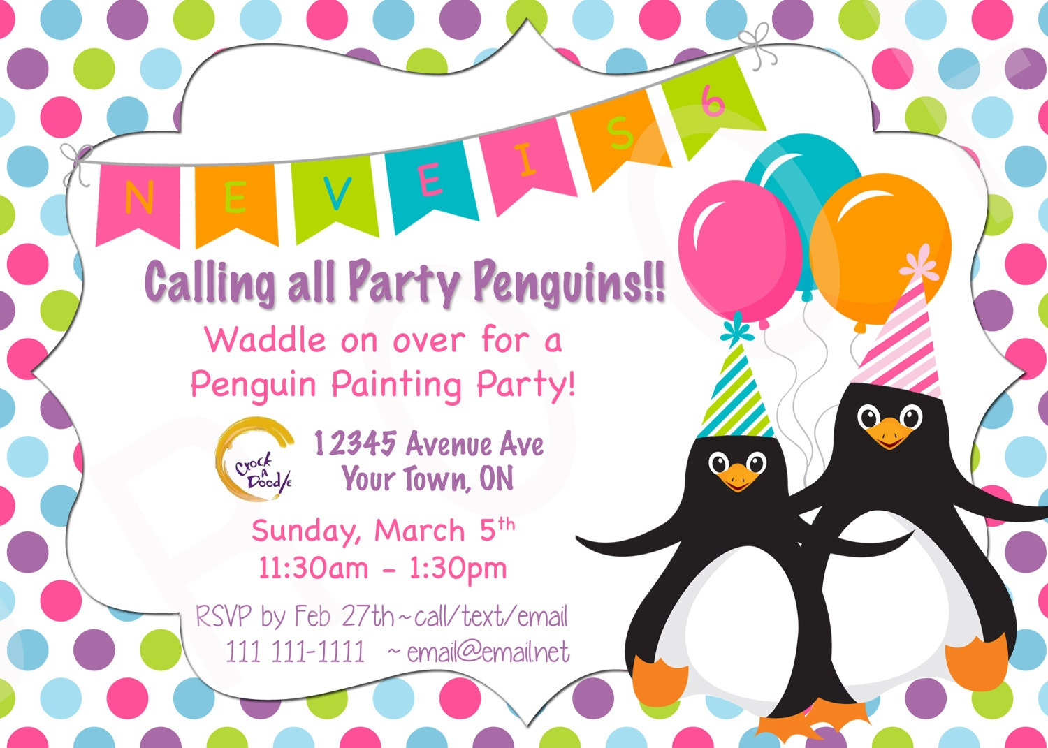 You Print Penguin Birthday Party Invite Penguin Party Penguin | Etsy