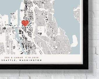 Personalized Seattle Building Art Print - Custom Run With Heart or Star Over A Specific Building - Wedding or Housewarming Gift