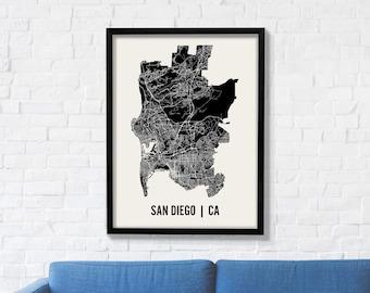 San Diego City Map Art Print, Modern Minimalist Map Poster of San Diego in 12 x 16, 18 x 24, or 24 x 30
